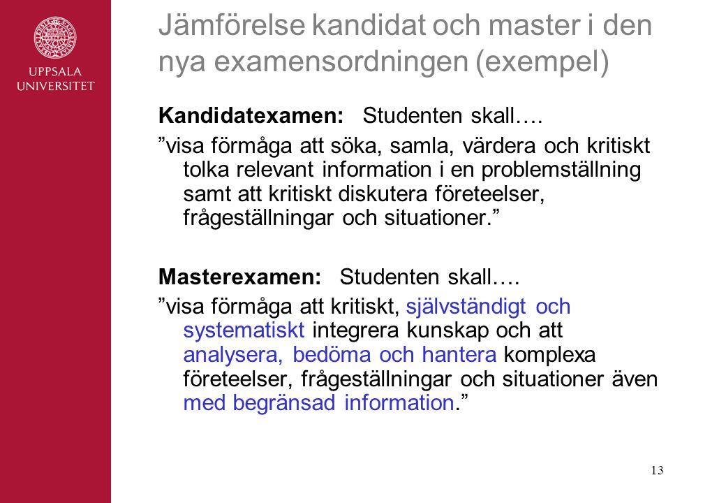 Jämförelse kandidat och master i den nya examensordningen (exempel)
