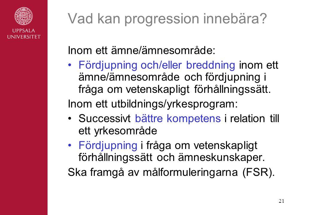 Vad kan progression innebära