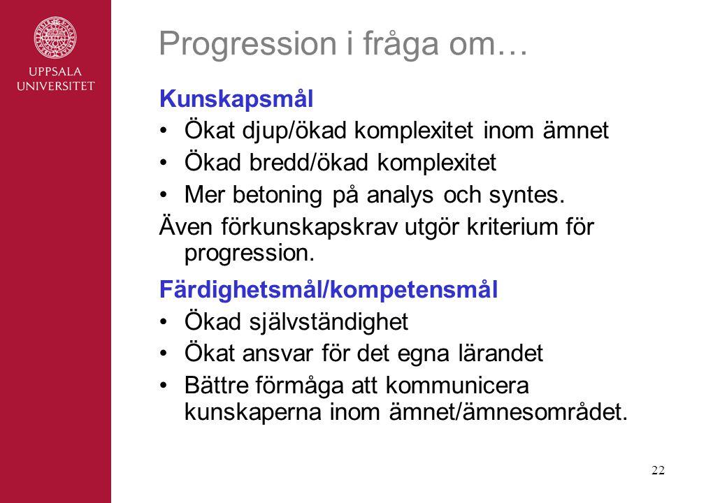 Progression i fråga om…