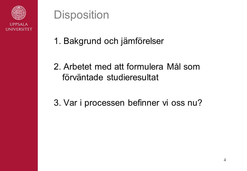 Disposition 1. Bakgrund och jämförelser
