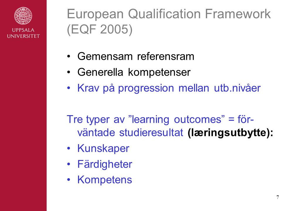 European Qualification Framework (EQF 2005)