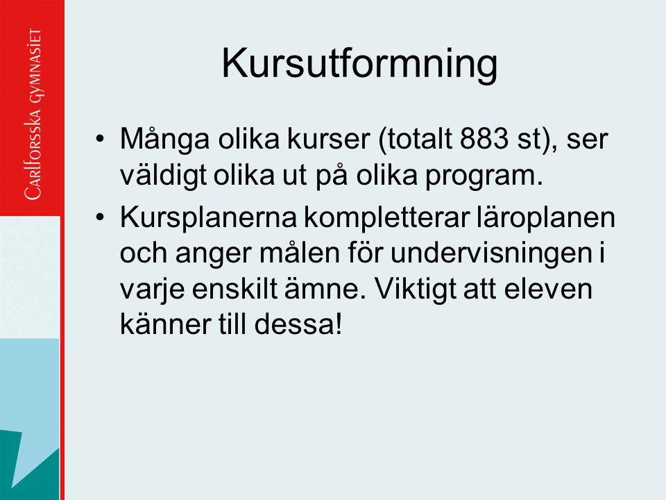 Kursutformning Många olika kurser (totalt 883 st), ser väldigt olika ut på olika program.