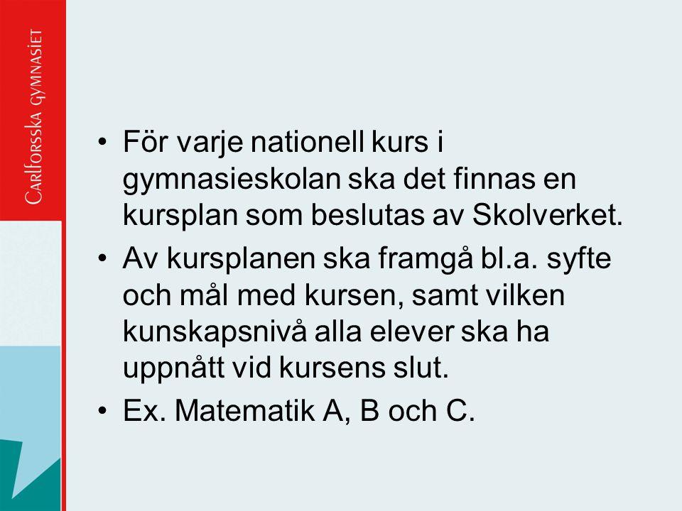 För varje nationell kurs i gymnasieskolan ska det finnas en kursplan som beslutas av Skolverket.