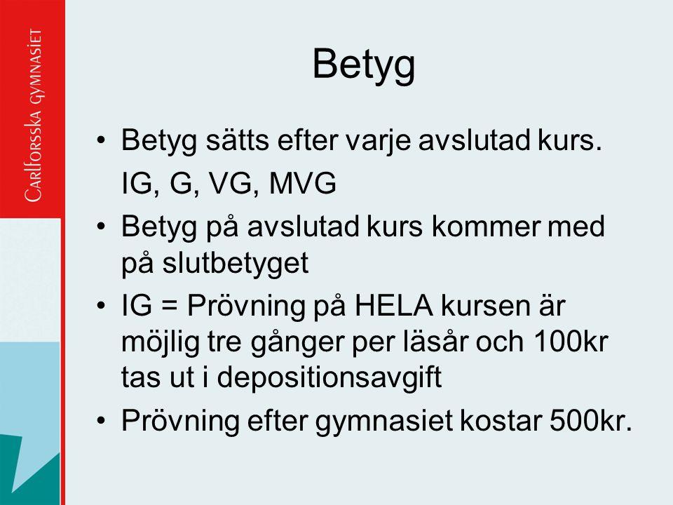 Betyg Betyg sätts efter varje avslutad kurs. IG, G, VG, MVG