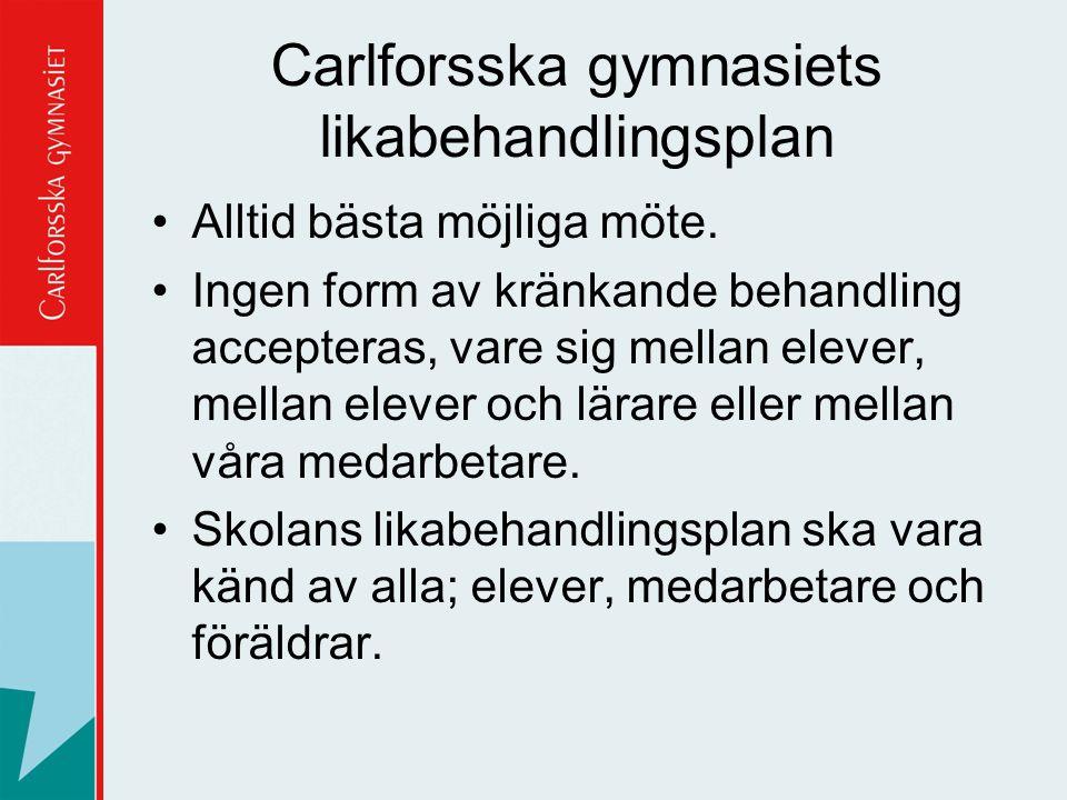 Carlforsska gymnasiets likabehandlingsplan