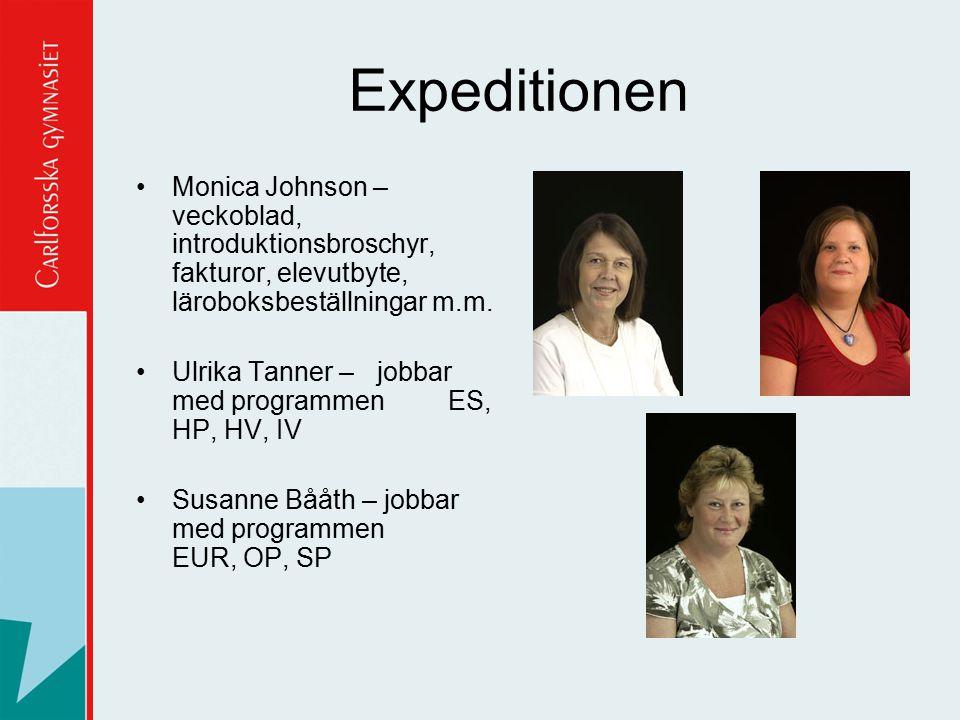 Expeditionen Monica Johnson – veckoblad, introduktionsbroschyr, fakturor, elevutbyte, läroboksbeställningar m.m.