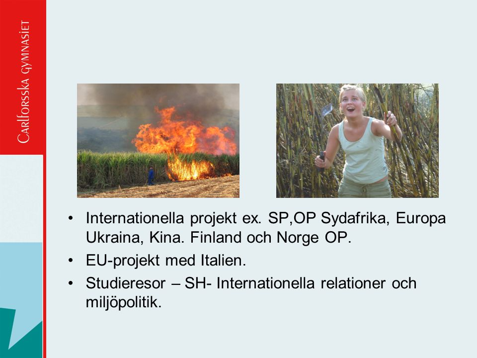 Internationella projekt ex. SP,OP Sydafrika, Europa Ukraina, Kina