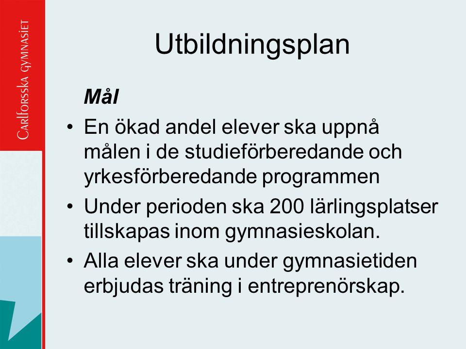 Utbildningsplan Mål. En ökad andel elever ska uppnå målen i de studieförberedande och yrkesförberedande programmen.
