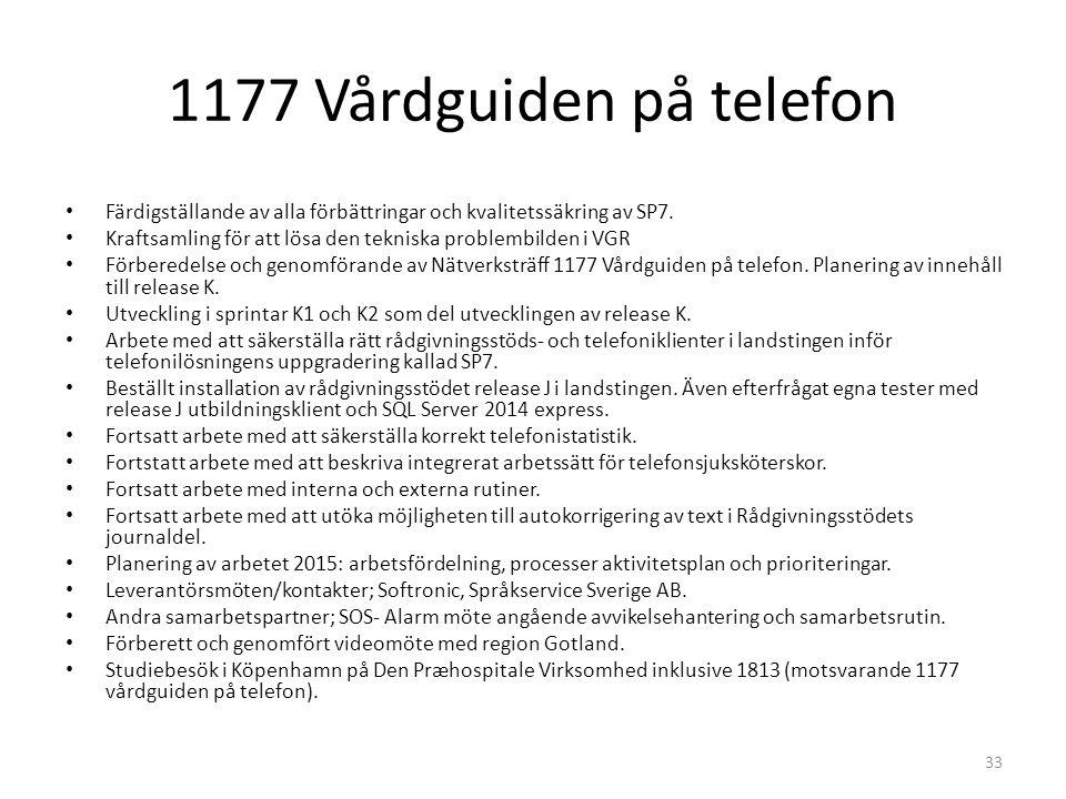 1177 Vårdguiden på telefon Färdigställande av alla förbättringar och kvalitetssäkring av SP7.