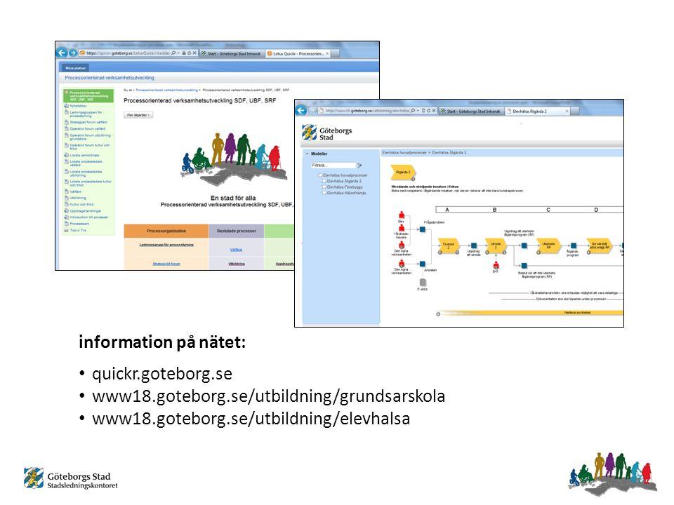 information på nätet: quickr.goteborg.se. www18.goteborg.se/utbildning/grundsarskola.