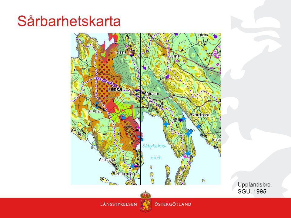 Sårbarhetskarta Upplandsbro, SGU, 1995