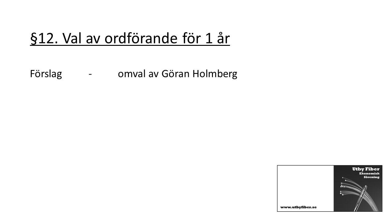 §12. Val av ordförande för 1 år