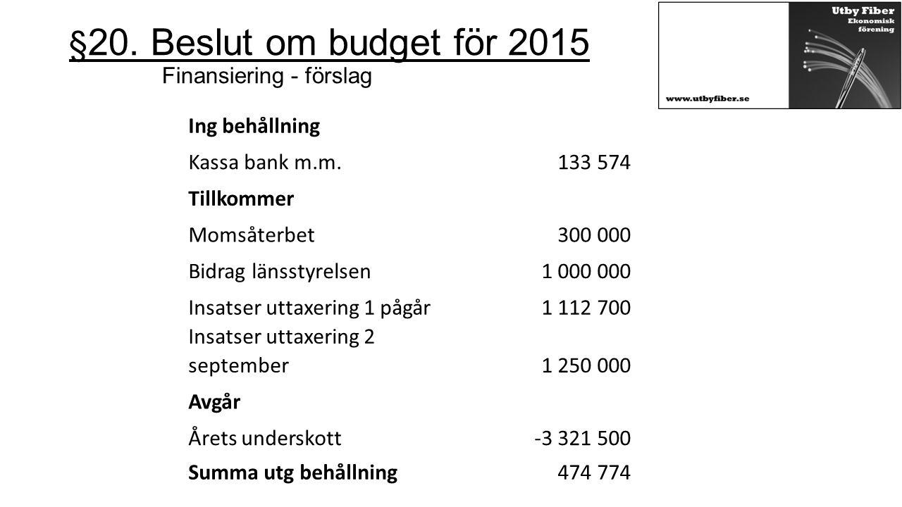 §20. Beslut om budget för 2015 Finansiering - förslag