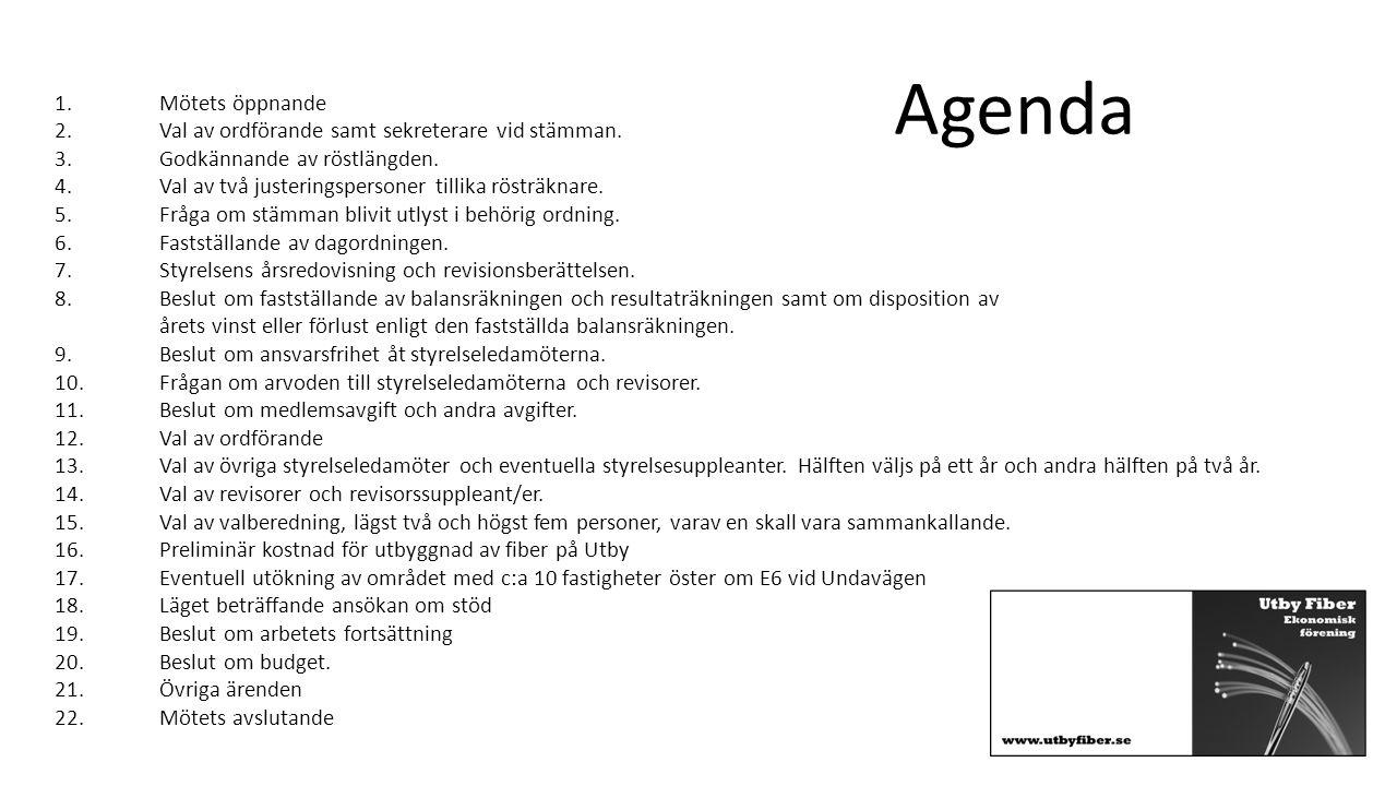 Agenda 1. Mötets öppnande