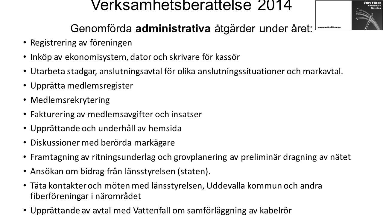 Verksamhetsberättelse 2014 Genomförda administrativa åtgärder under året: