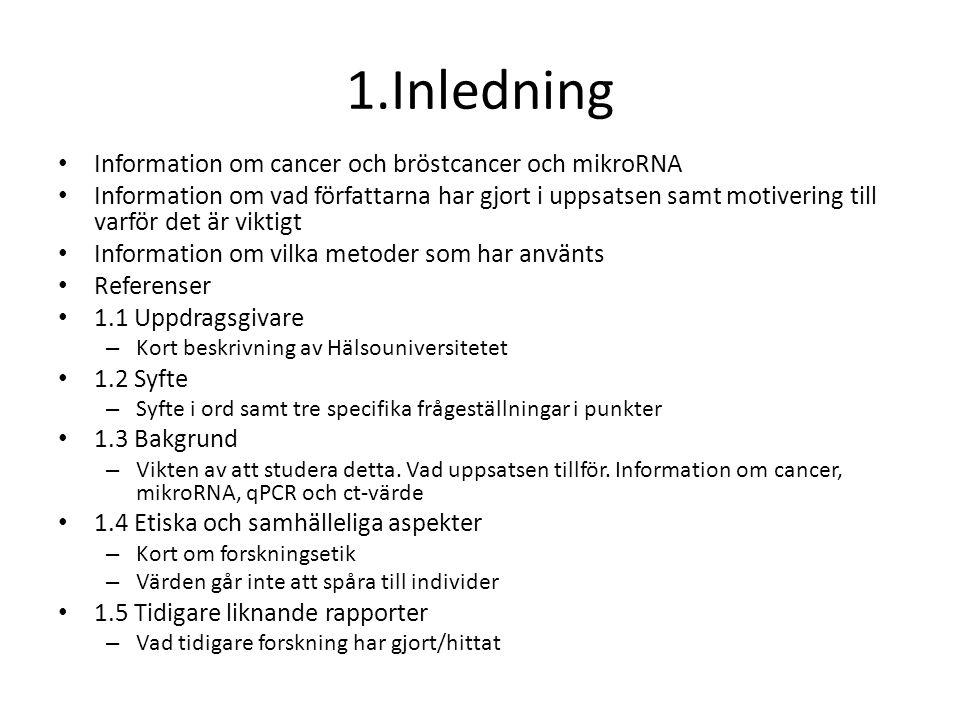 1.Inledning Information om cancer och bröstcancer och mikroRNA