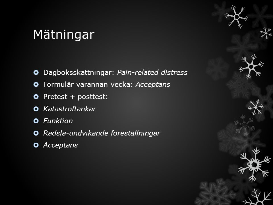 Mätningar Dagboksskattningar: Pain-related distress