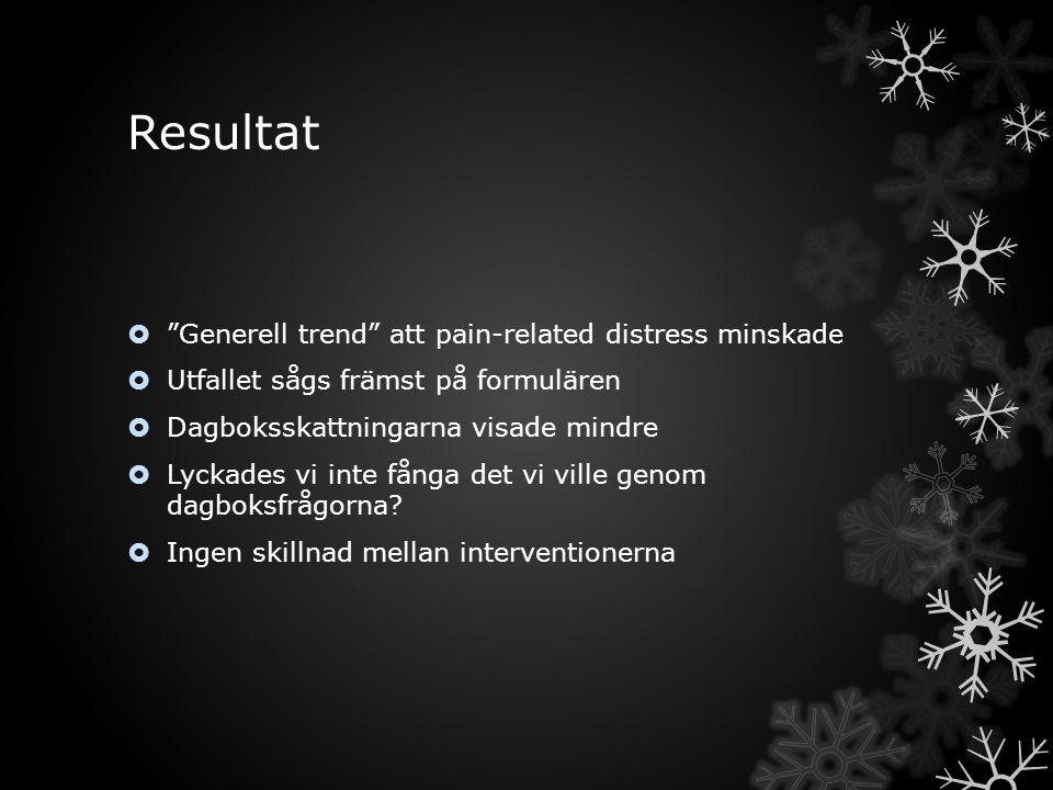 Resultat Generell trend att pain-related distress minskade