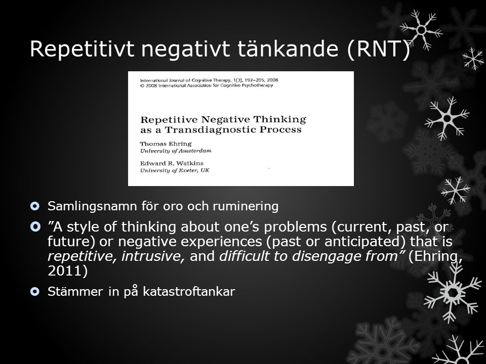Repetitivt negativt tänkande (RNT)