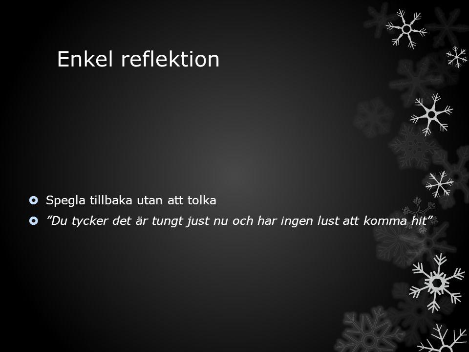 Enkel reflektion Spegla tillbaka utan att tolka