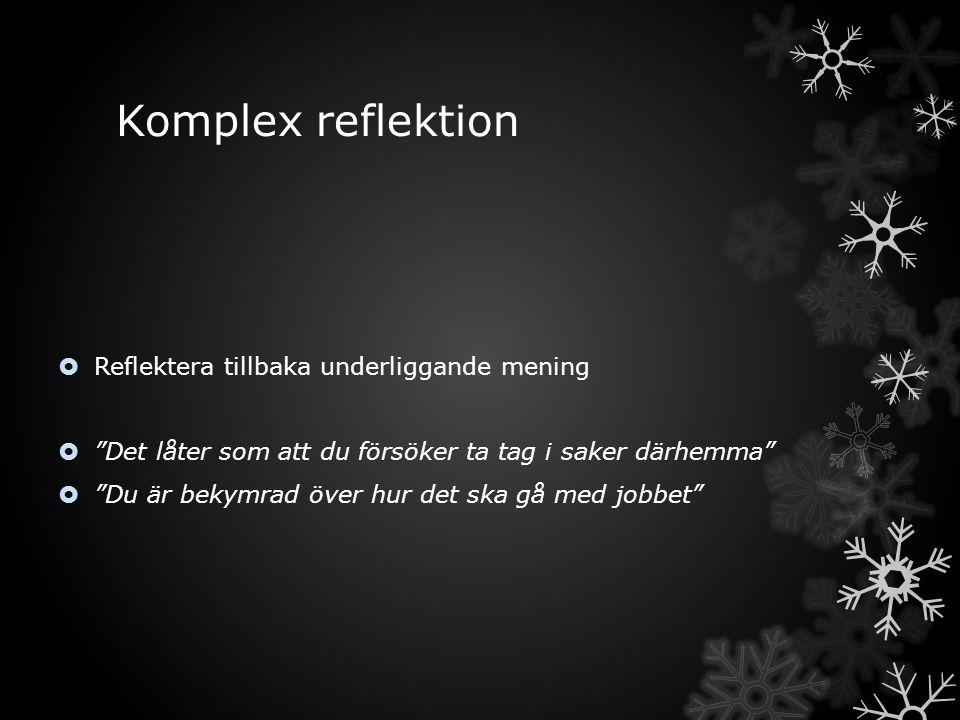 Komplex reflektion Reflektera tillbaka underliggande mening