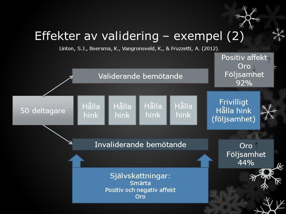 Effekter av validering – exempel (2)