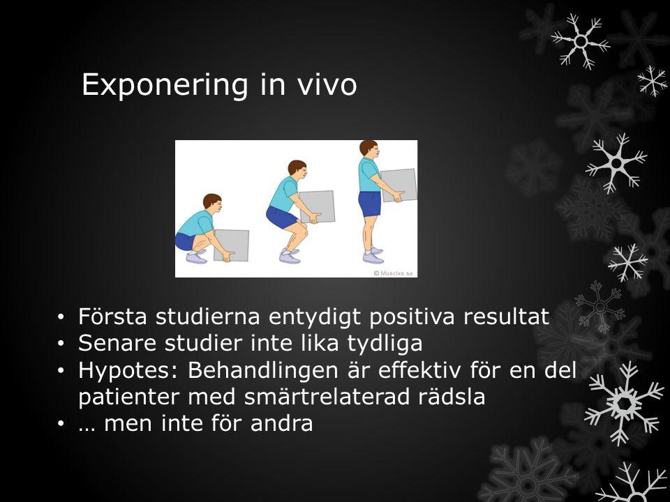 Exponering in vivo Första studierna entydigt positiva resultat