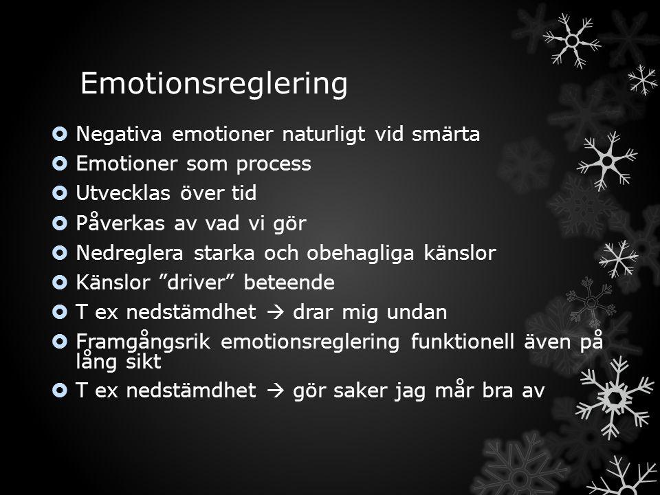 Emotionsreglering Negativa emotioner naturligt vid smärta