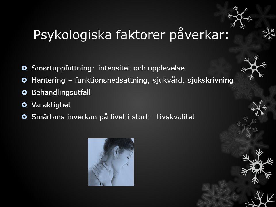 Psykologiska faktorer påverkar: