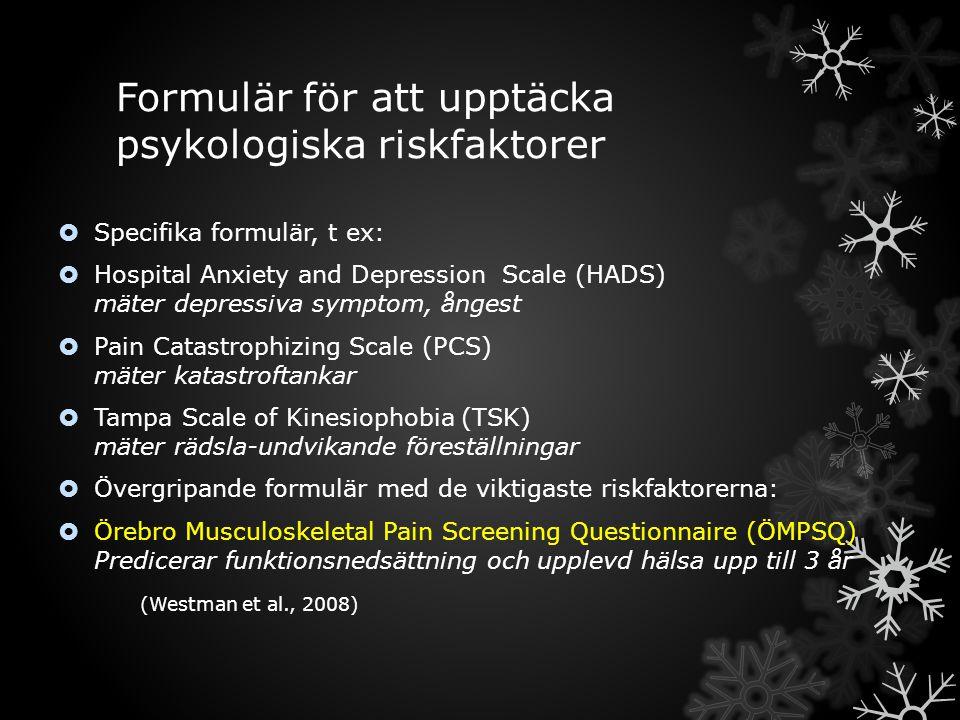 Formulär för att upptäcka psykologiska riskfaktorer