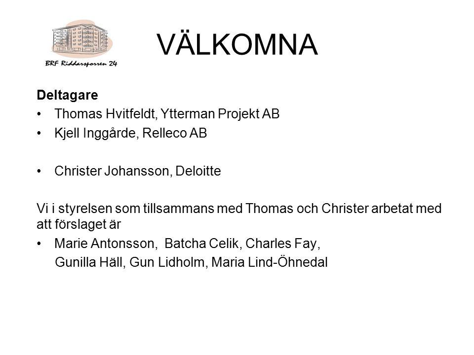 VÄLKOMNA Deltagare Thomas Hvitfeldt, Ytterman Projekt AB
