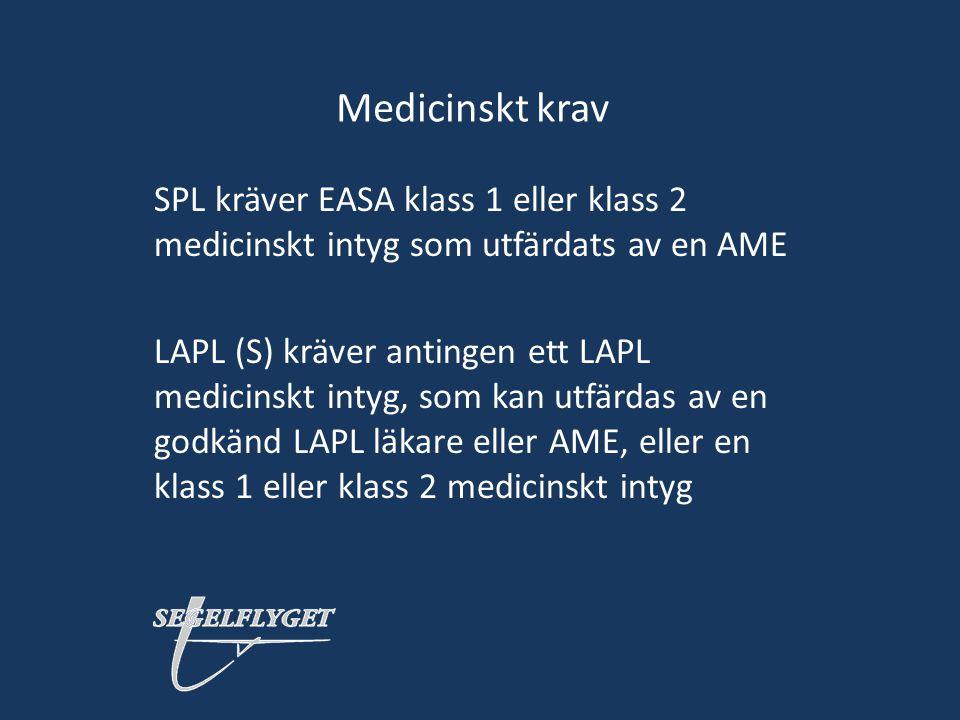 Medicinskt krav SPL kräver EASA klass 1 eller klass 2 medicinskt intyg som utfärdats av en AME.