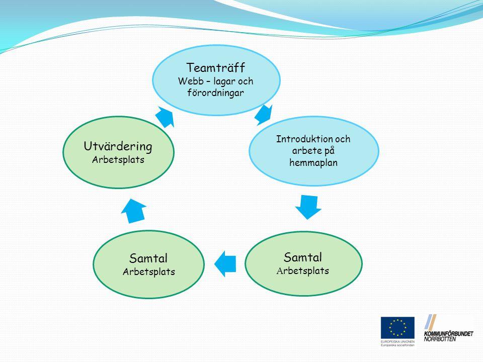 Teamträff Webb – lagar och förordningar Samtal Arbetsplats