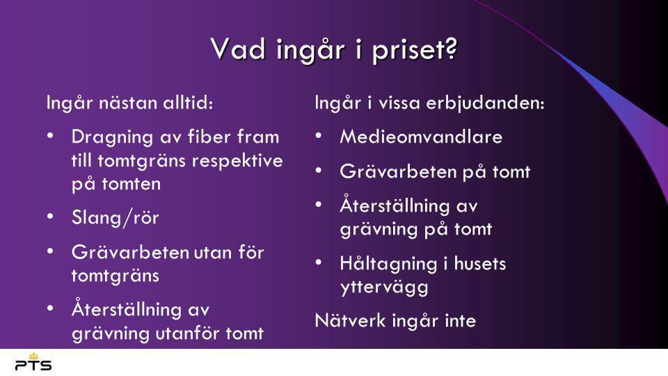 Vad ingår i priset Ingår nästan alltid:
