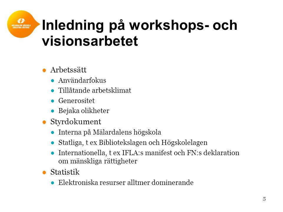 Inledning på workshops- och visionsarbetet