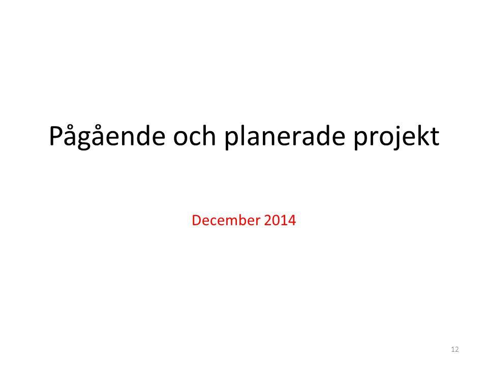 Pågående och planerade projekt