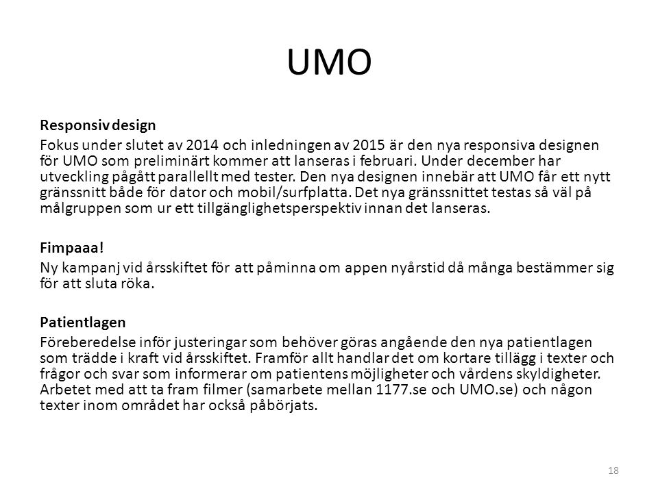 UMO Responsiv design.