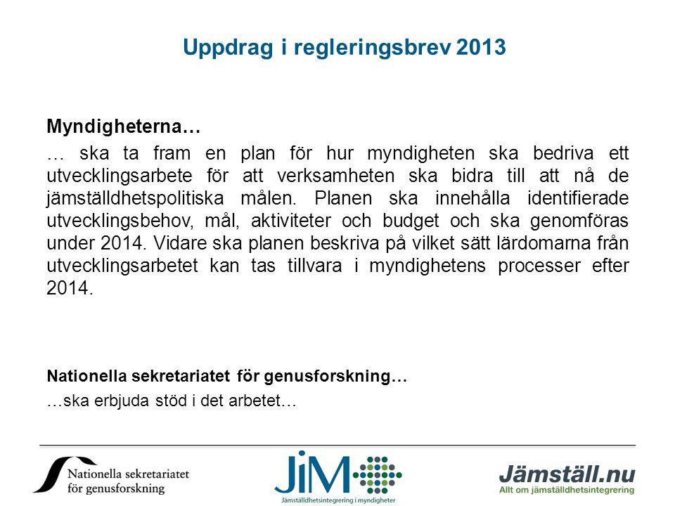 Uppdrag i regleringsbrev 2013