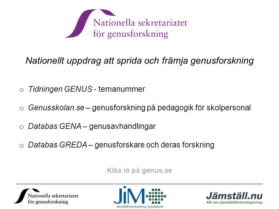 Nationellt uppdrag att sprida och främja genusforskning