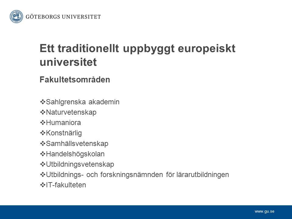 Ett traditionellt uppbyggt europeiskt universitet