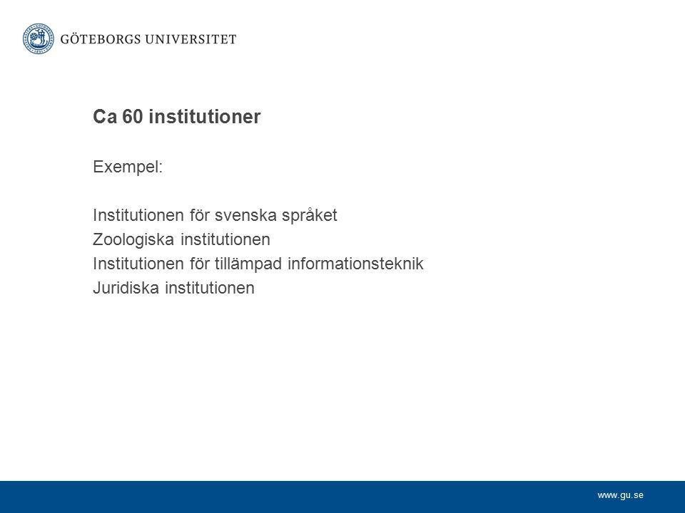 Ca 60 institutioner Exempel: Institutionen för svenska språket