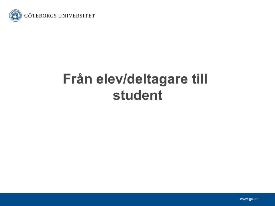 Från elev/deltagare till student