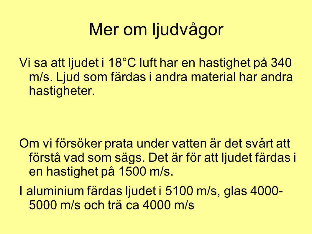 Mer om ljudvågor Vi sa att ljudet i 18°C luft har en hastighet på 340 m/s. Ljud som färdas i andra material har andra hastigheter.