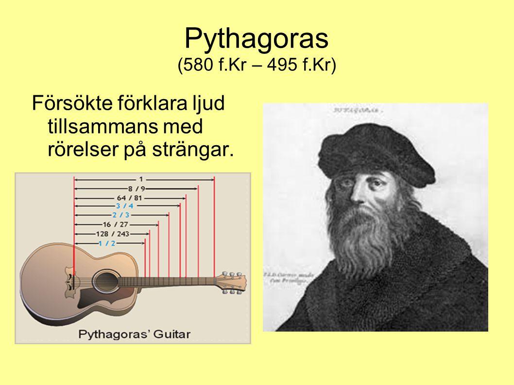 Pythagoras (580 f.Kr – 495 f.Kr) Försökte förklara ljud tillsammans med rörelser på strängar.