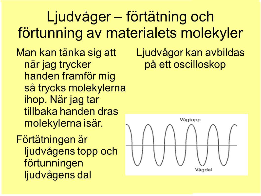 Ljudvåger – förtätning och förtunning av materialets molekyler