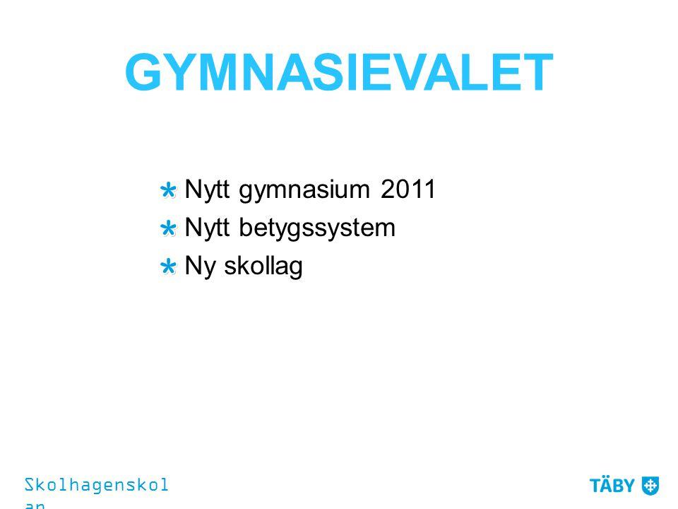 GYMNASIEVALET Nytt gymnasium 2011 Nytt betygssystem Ny skollag