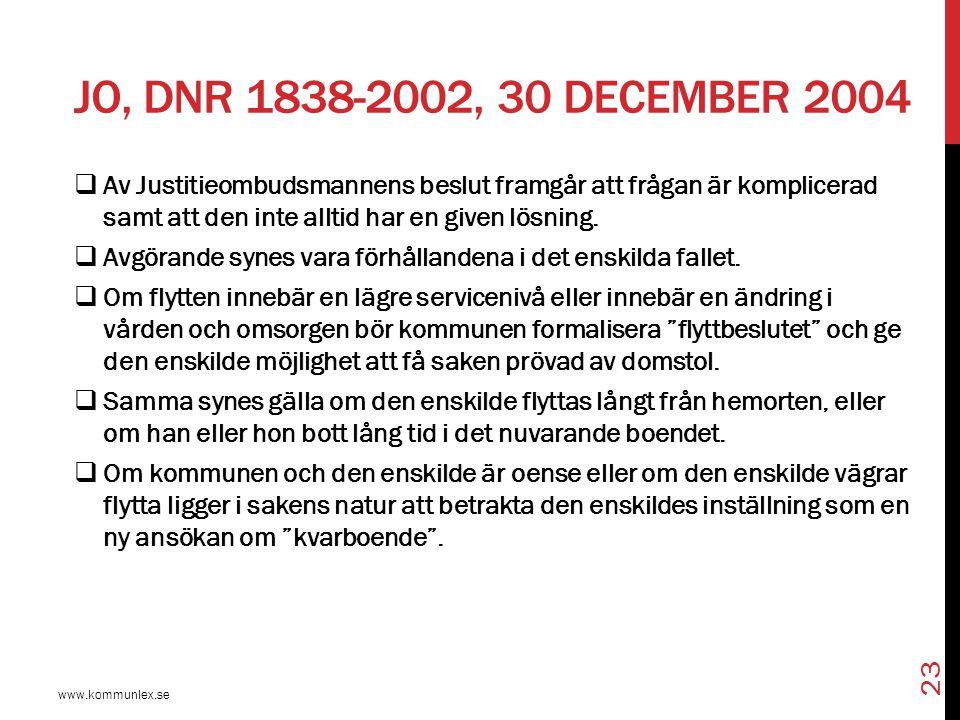 JO, Dnr 1838-2002, 30 december 2004 Av Justitieombudsmannens beslut framgår att frågan är komplicerad samt att den inte alltid har en given lösning.