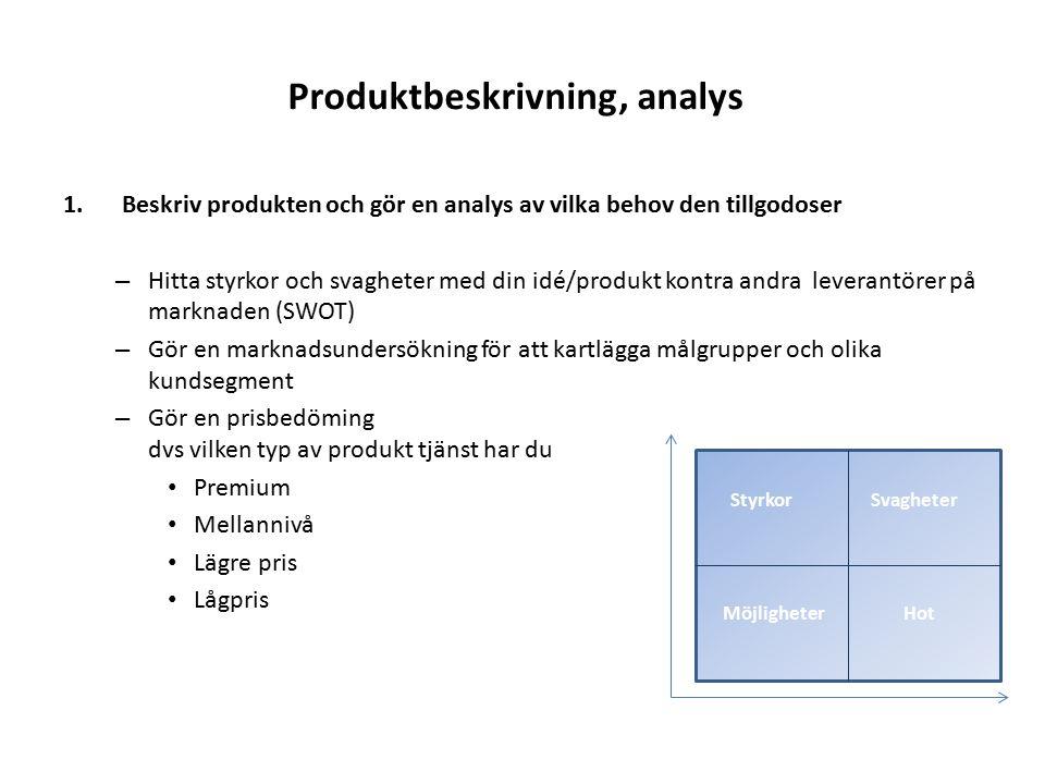 Produktbeskrivning, analys
