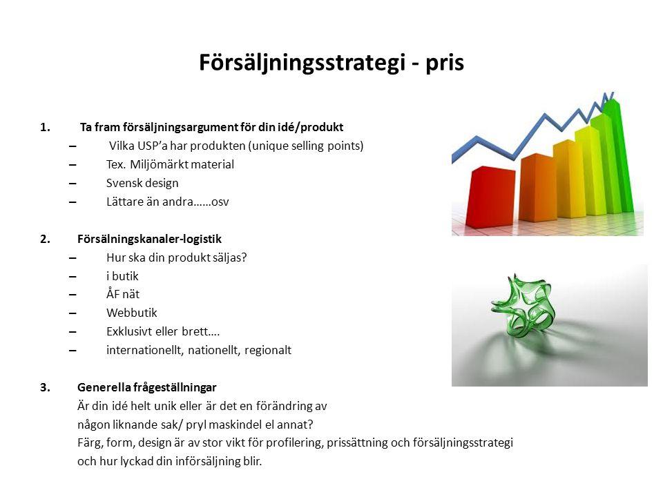 Försäljningsstrategi - pris