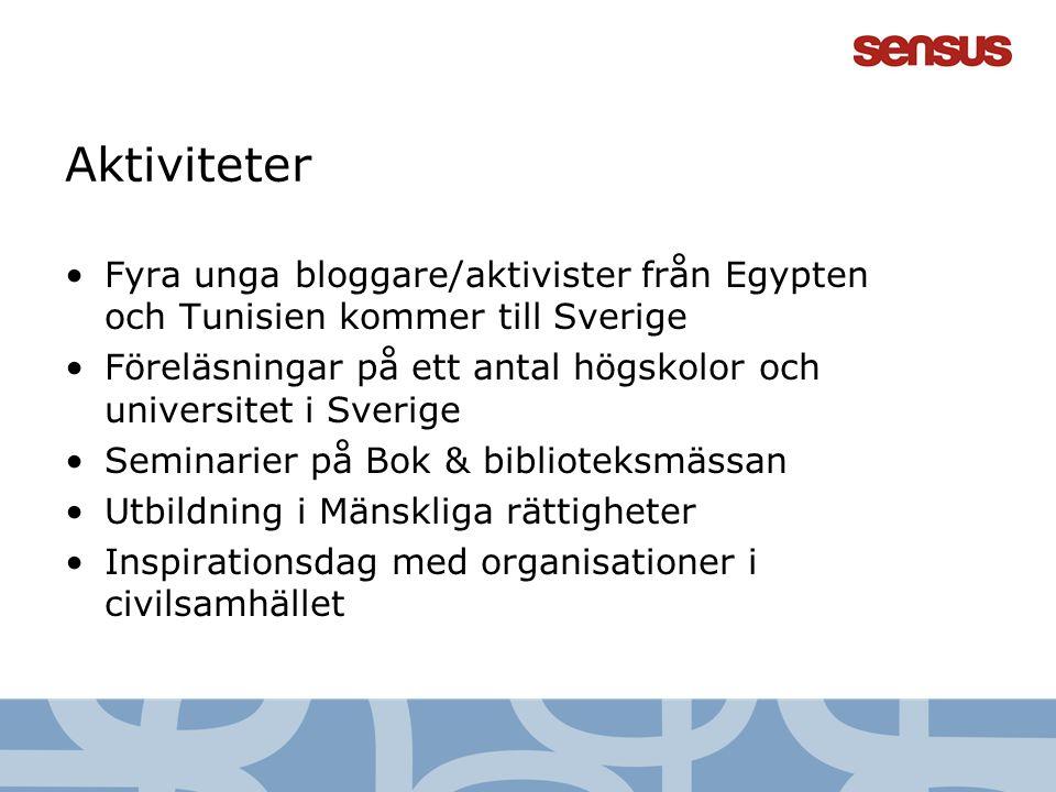 Aktiviteter Fyra unga bloggare/aktivister från Egypten och Tunisien kommer till Sverige.